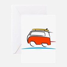 Red Shoerty Van Gone Surfing Greeting Card