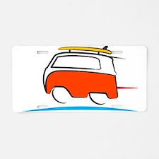 Red Shoerty Van Gone Surfin Aluminum License Plate