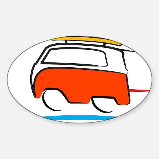 Red Shoerty Van Gone Surfing Sticker (Oval)