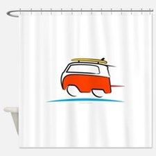 Red Shoerty Van Gone Surfing Shower Curtain