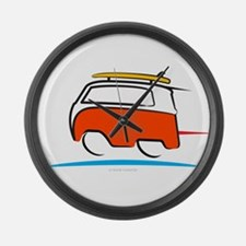 Red Shoerty Van Gone Surfing Large Wall Clock