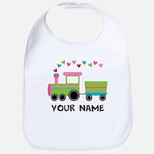 Personalized Valentine Train Baby Bib