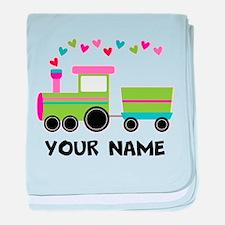 Personalized Valentine Train baby blanket