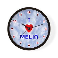 I Love Melia (Red/Bl) Valentine Wall Clock