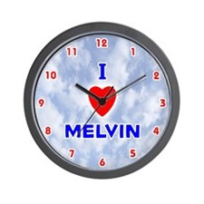 I Love Melvin (Red/Bl) Valentine Wall Clock
