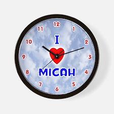 I Love Micah (Red/Bl) Valentine Wall Clock