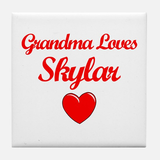 Grandma Loves Skylar Tile Coaster