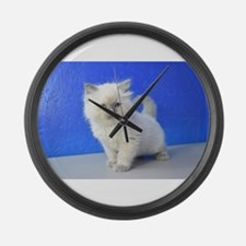 Kissy - Ragdoll Kitten Blue Point Large Wall Clock