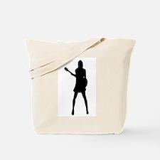 Girl Musician Silhouette Tote Bag