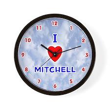 I Love Mitchell (Red/Bl) Valentine Wall Clock