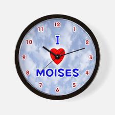 I Love Moises (Red/Bl) Valentine Wall Clock