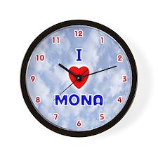 I Love Mona (Red/Bl) Valentine Wall Clock