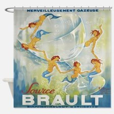 Mermaids, Champagne Vintage Poster Shower Curtain