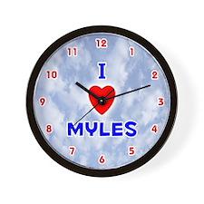 I Love Myles (Red/Bl) Valentine Wall Clock