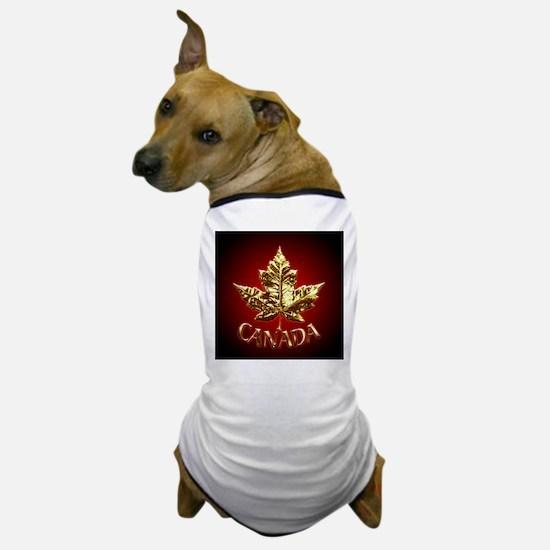 Gold Canada Maple Leaf Dog T-Shirt
