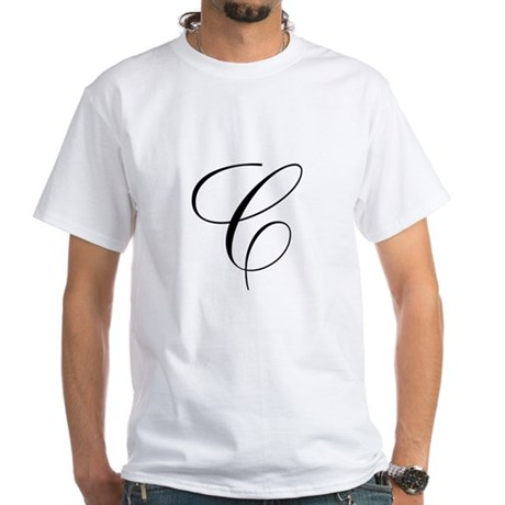 C Initial Black and White Sript T-Shirt