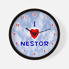 I Love Nestor (Red/Bl) Valentine Wall Clock