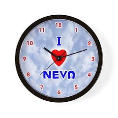 I Love Neva (Red/Bl) Valentine Wall Clock