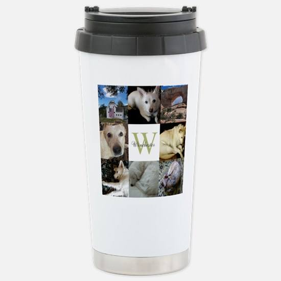Photo Block with Monogram and Name Travel Mug