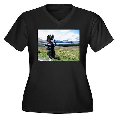 Highlands Women's Plus Size V-Neck Dark T-Shirt