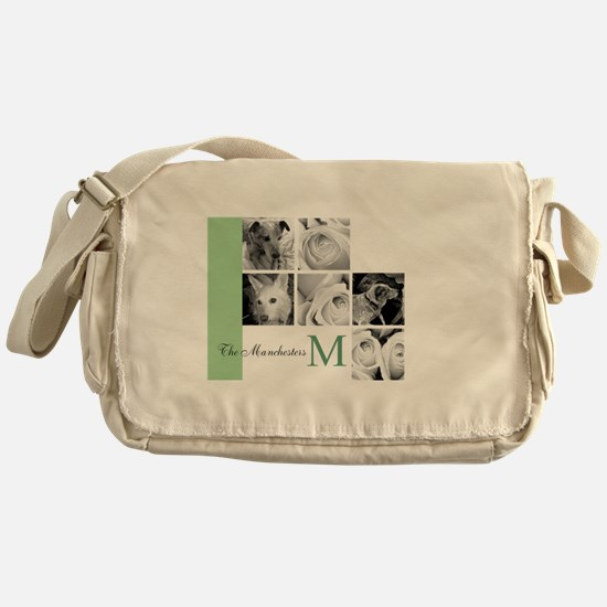 Monogram and Your Photos Here Messenger Bag