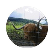 Highland Cow Ornament (Round)