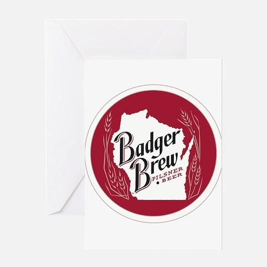 Badger Brew Round Logo Greeting Cards
