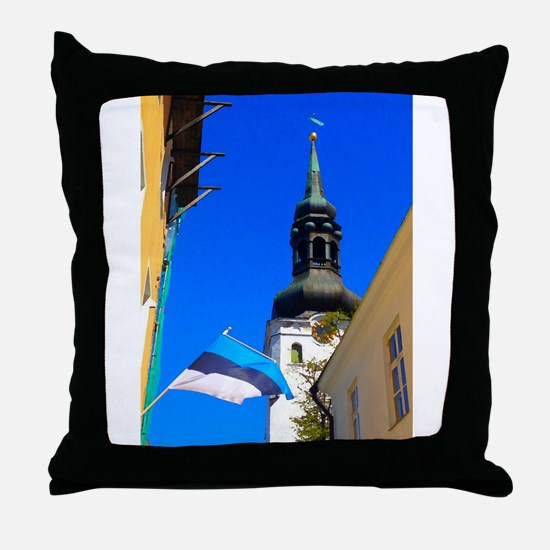 Blue Skies of Estonia Throw Pillow