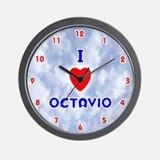I Love Octavio (Red/Bl) Valentine Wall Clock