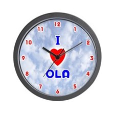 I Love Ola (Red/Bl) Valentine Wall Clock