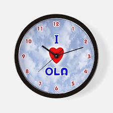 I Love Ola (Red/Bl) Valentine Wall Clock