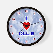 I Love Ollie (Red/Bl) Valentine Wall Clock