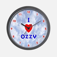 I Love Ozzy (Red/Bl) Valentine Wall Clock