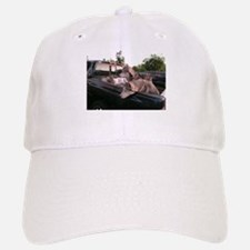 Siberian huskies in a green Dodge pickup truck Baseball Baseball Cap