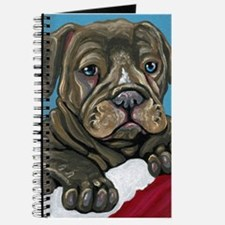 Christmas Stocking Pit Bull Puppy Dog Journal