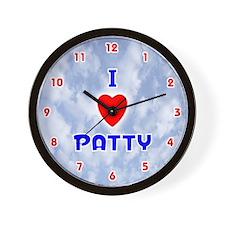 I Love Patty (Red/Bl) Valentine Wall Clock