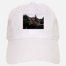 Siberian huskies in green Dodge pickup truck Baseball Baseball Cap