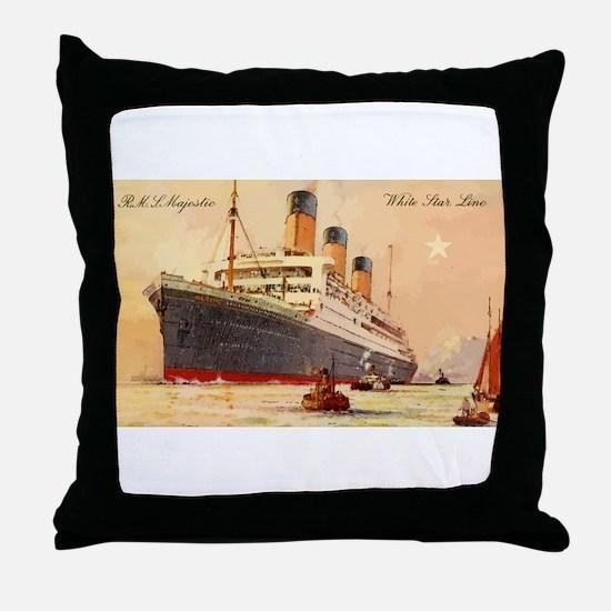 Majestic steamship historic postcard Throw Pillow