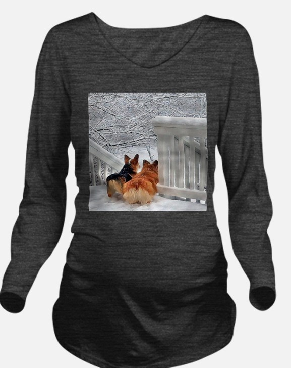 Two Corgis in winter snow T-Shirt