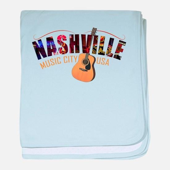 Nashville Music City USA baby blanket