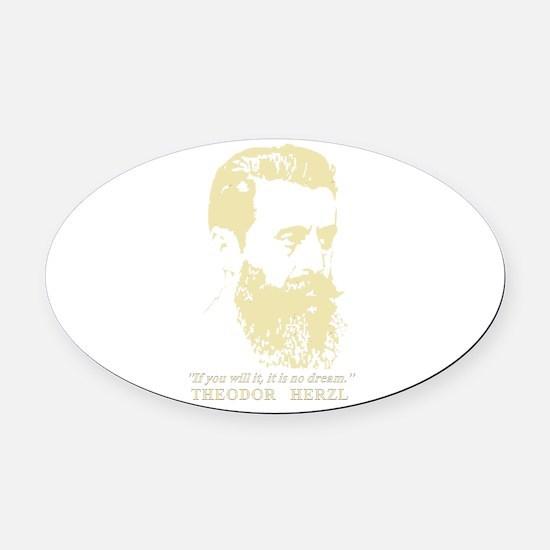 Theodor Herzl - Israel Sketch Quot Oval Car Magnet