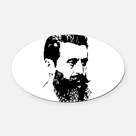 Theodor Herzl - Israel Sketch Oval Car Magnet