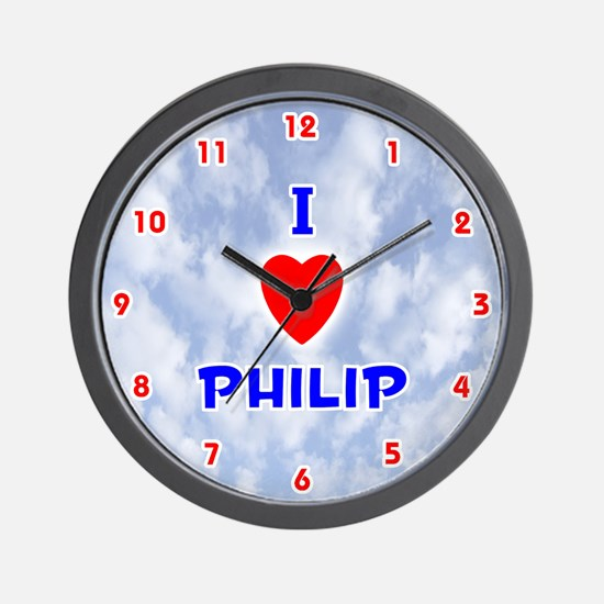 I Love Philip (Red/Bl) Valentine Wall Clock