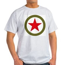 Ash Grey T-Shirt - Red star in circle CCCP