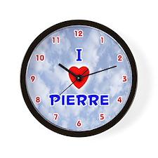 I Love Pierre (Red/Bl) Valentine Wall Clock