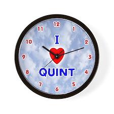 I Love Quint (Red/Bl) Valentine Wall Clock
