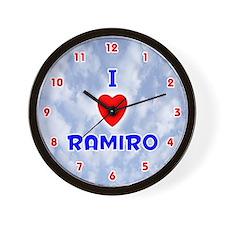 I Love Ramiro (Red/Bl) Valentine Wall Clock