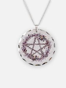 Purple Pentacle Necklace Circle Charm
