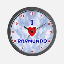 I Love Raymundo (Red/Bl) Valentine Wall Clock