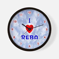 I Love Reba (Red/Bl) Valentine Wall Clock